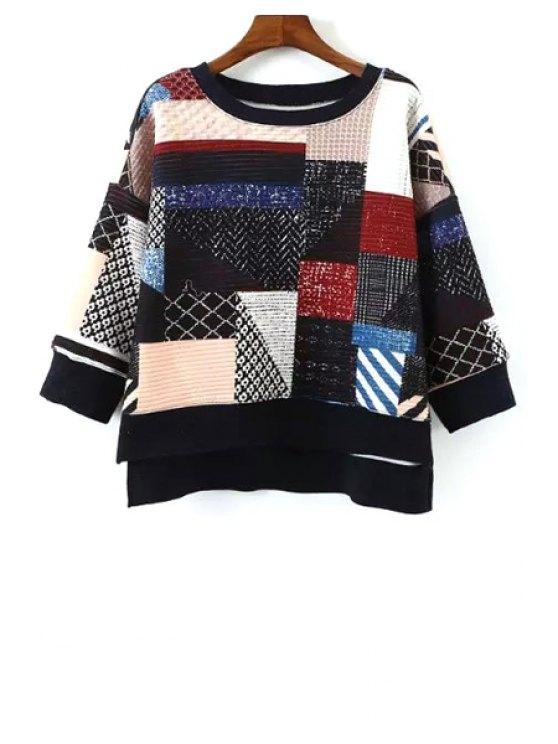 chic Print Spliced 3/4 Sleeve Sweatshirt - COLORMIX S