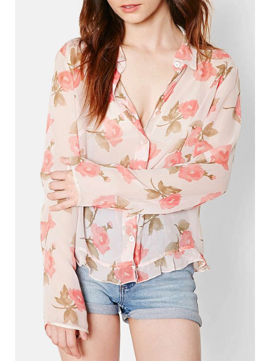 best Floral Print Chiffon Flat Collar Long Sleeves Blouse - PINK XS