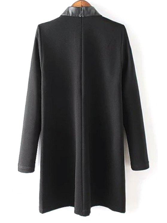 PU Leather Spliced Black Long Sleeve Dress - BLACK M Mobile