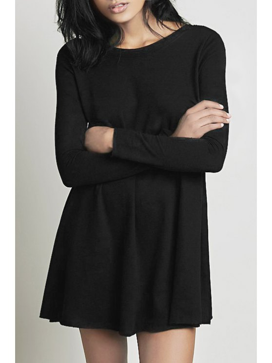 new Pure Color Scoop Collar Long Sleeve Dress - BLACK S
