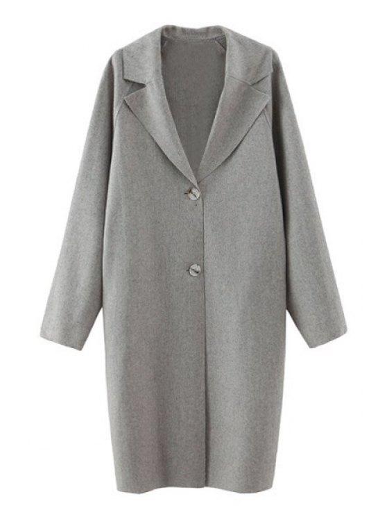 shops Pure Color Lapel Collar Long Sleeves Coat - GRAY S