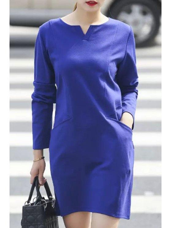 sale Pure Color V Neck Long Sleeve Pocket Dress - PURPLISH BLUE L