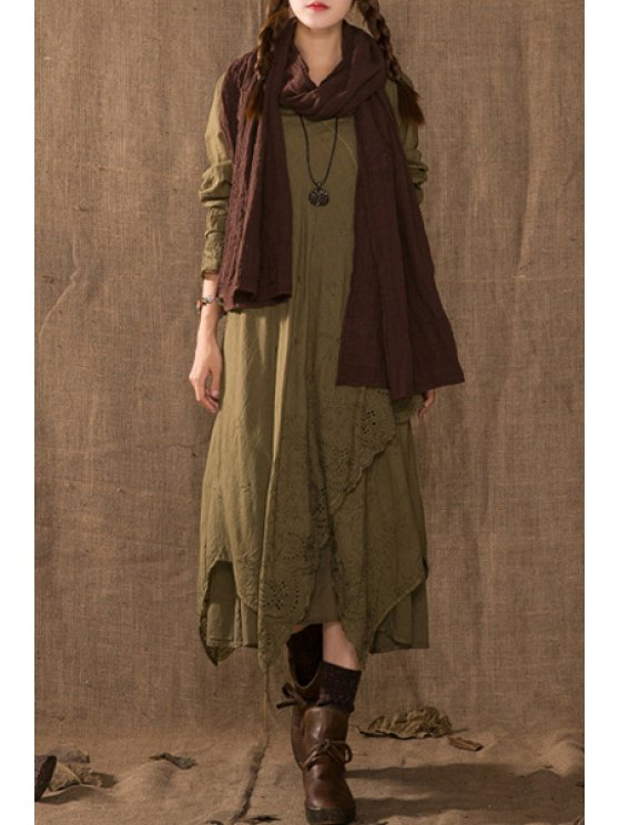 buy Solid Color Irregular Hem Maxi Round Collar Dress - KHAKI ONE SIZE(FIT SIZE XS TO M)