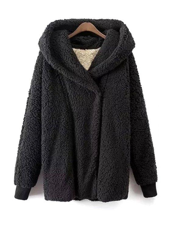women's Black Hooded Long Sleeve Coat - BLACK S