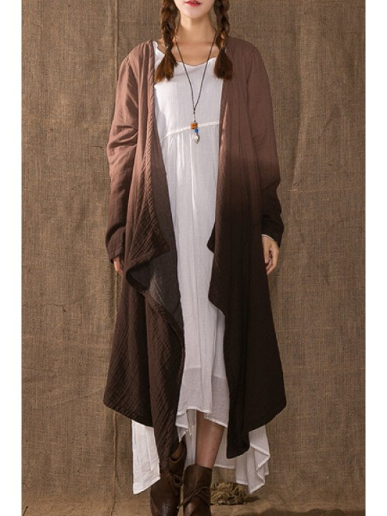 shop Loose Fitting Ombre Long Sleeves Long Blouse - COFFEE ONE SIZE(FIT SIZE XS TO M)