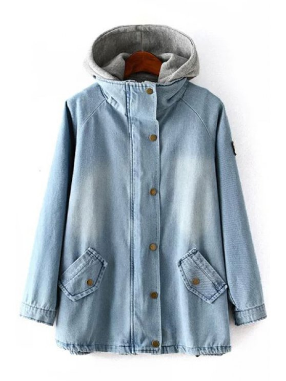 trendy Denim Coat and Gray Hooded Waistcoat Twinset - ICE BLUE L