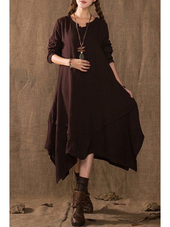 fashion Solid Color Loose Fitting Long Sleeves Dress - COFFEE ONE SIZE(FIT SIZE XS TO M)