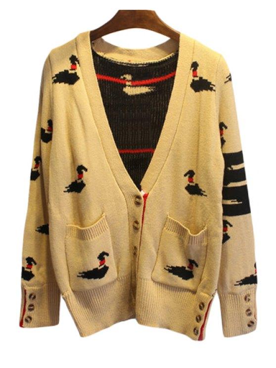 women's Mandarin Duck Pattern Long Sleeve Cardigan - KHAKI S