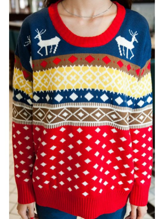 hot Argyle Pattern Long Sleeve Christmas Jumper - BLUE ONE SIZE(FIT SIZE XS TO M)