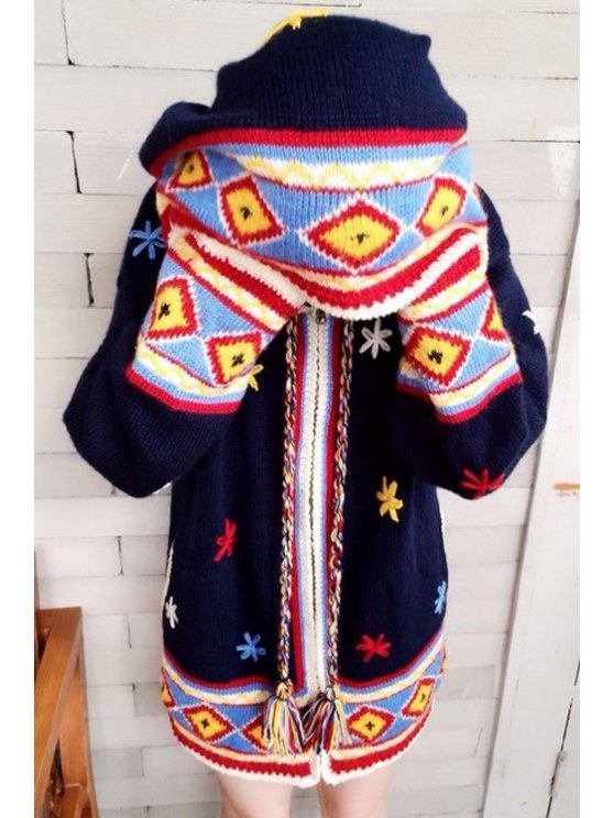 outfits Flower Embroidery Hooded Long Sleeve Cardigan - DEEP BLUE S