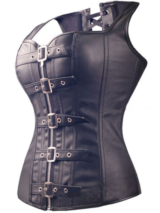 Faux Leather Pin Buckle Lace Up Corset - BLACK XL Mobile
