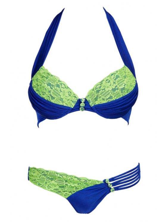 Halter Neck Ruched Bikini Set -   Mobile