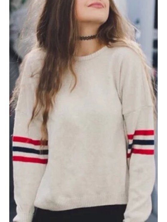 new Long Sleeves Striped Loose Fitting Round Collar Sweater - WHITE ONE SIZE(FIT SIZE XS TO M)