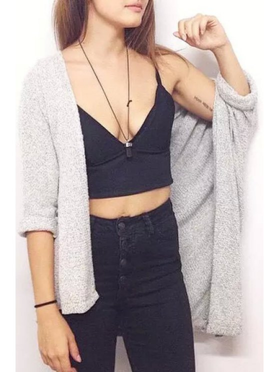 hot Solid Color Brief Long Sleeves Collarless Cardigan - GRAY ONE SIZE(FIT SIZE XS TO M)