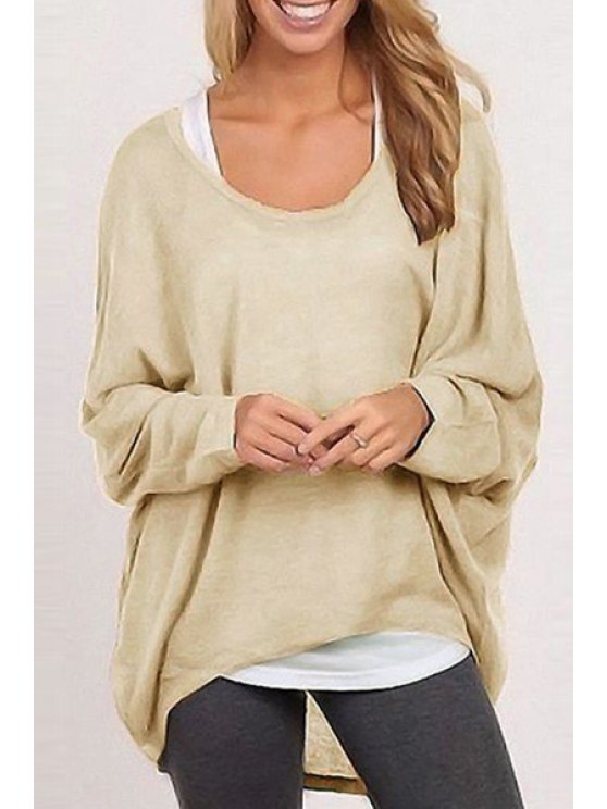 latest Loose-Fitting Solid Color Scoop Neck Long Sleeves Sweater - DARK KHAKI S