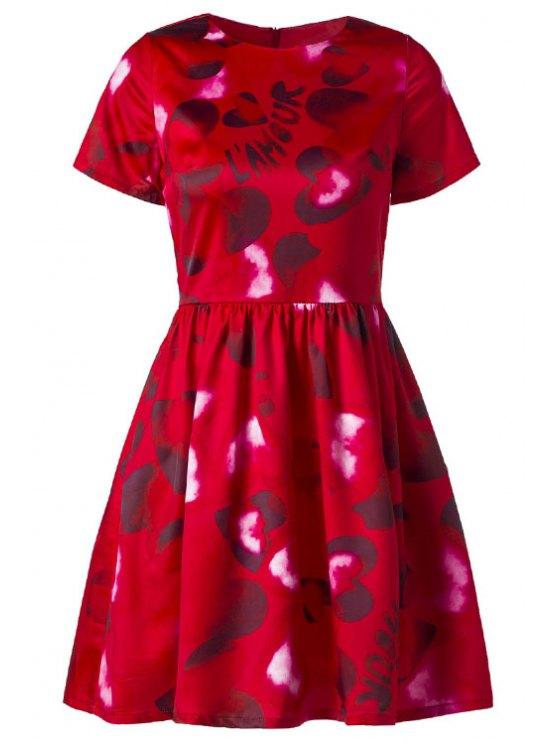 online Short Sleeve Heart Print Red Dress - RED S