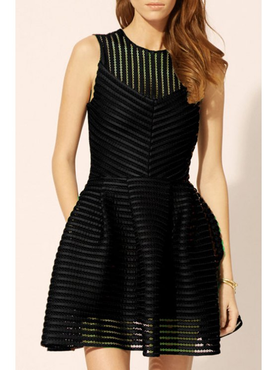 buy Sleeveless Mesh Design Bubble Dress - BLACK S