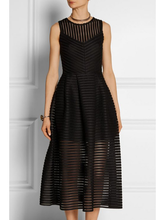 ladies Sleeveless Mesh Panel Prom Dress - BLACK S
