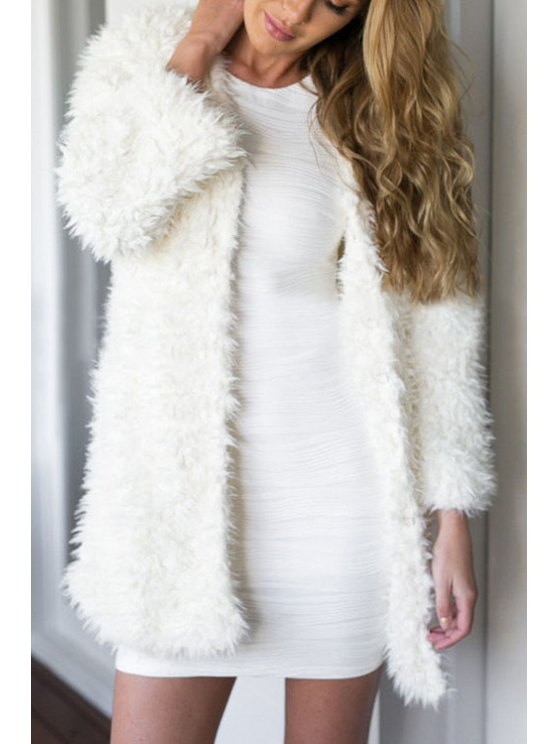 unique White Faux Fur Thicken Long Sleeves Coat - WHITE S