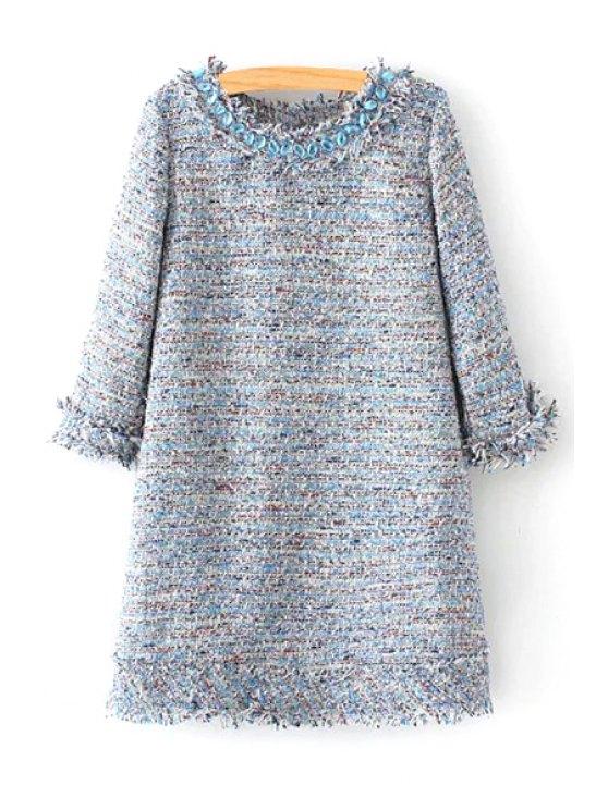 latest Multi Color Jewel Neck 3/4 Sleeve Dress - COLORMIX S