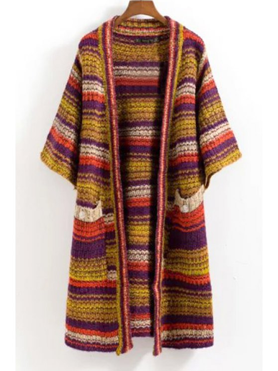 women Colored Striped 3/4 Sleeve Cardigan - COLORMIX ONE SIZE(FIT SIZE XS TO M)