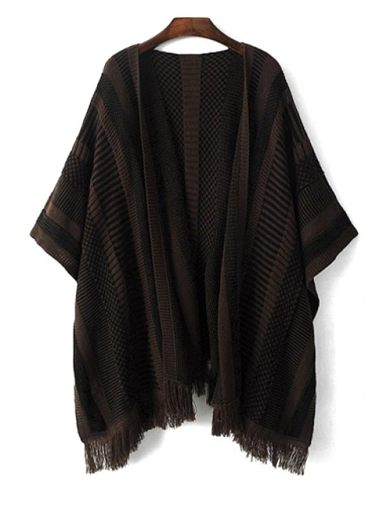 online Tassels Striped 3/4 Sleeve Cardigan - BLACK S
