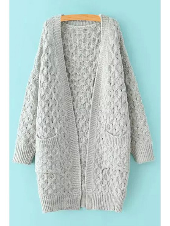 best Pure Color Long Sleeve Long Cardigan - GRAY ONE SIZE(FIT SIZE XS TO M)