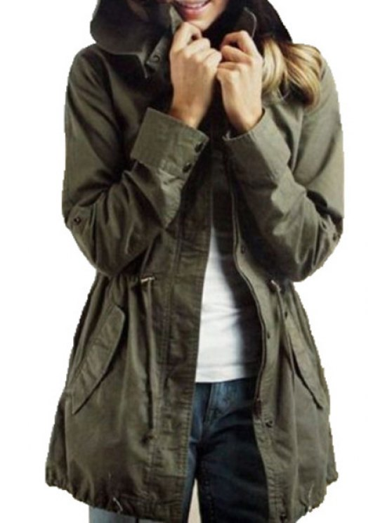 women's Waisted Solid Color Hooded Long Sleeves Trench Coat - ARMY GREEN S