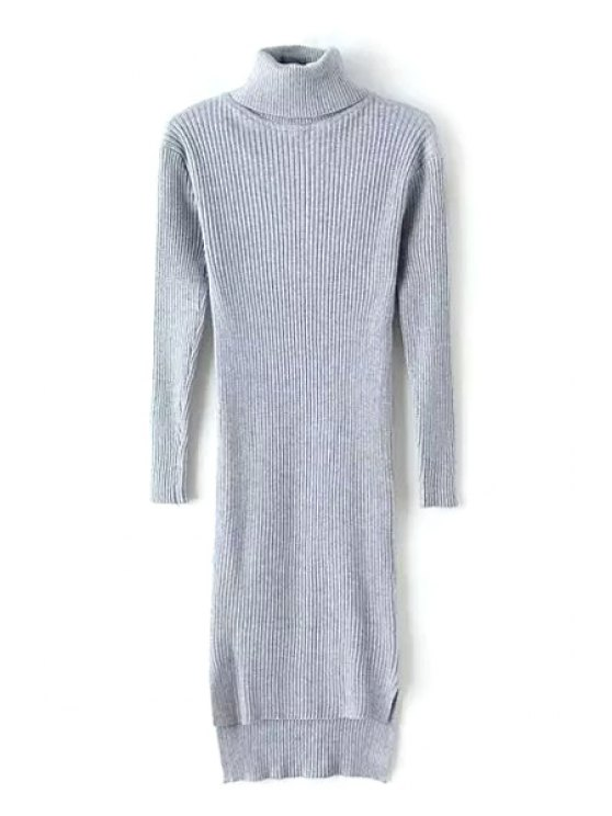 affordable Slit Turtle Neck Long Sleeve Sweater Dress - GRAY ONE SIZE(FIT SIZE XS TO M)