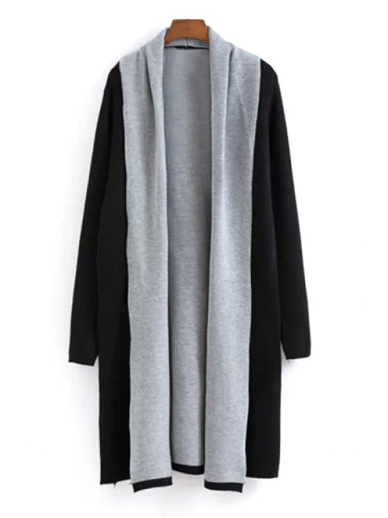 women's Color Block Turn Down Collar Long Sleeve Cardigan - BLACK ONE SIZE(FIT SIZE XS TO M)