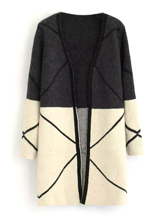 outfit Color Block Long Sleeve V Neck Cardigan - BLACK ONE SIZE(FIT SIZE XS TO M)