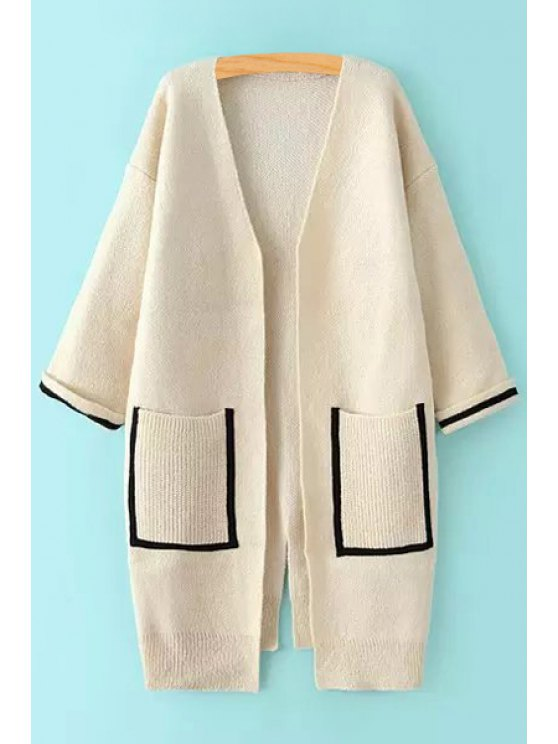 unique Double Pocket V Neck Long Sleeve Cardigan - OFF-WHITE ONE SIZE(FIT SIZE XS TO M)