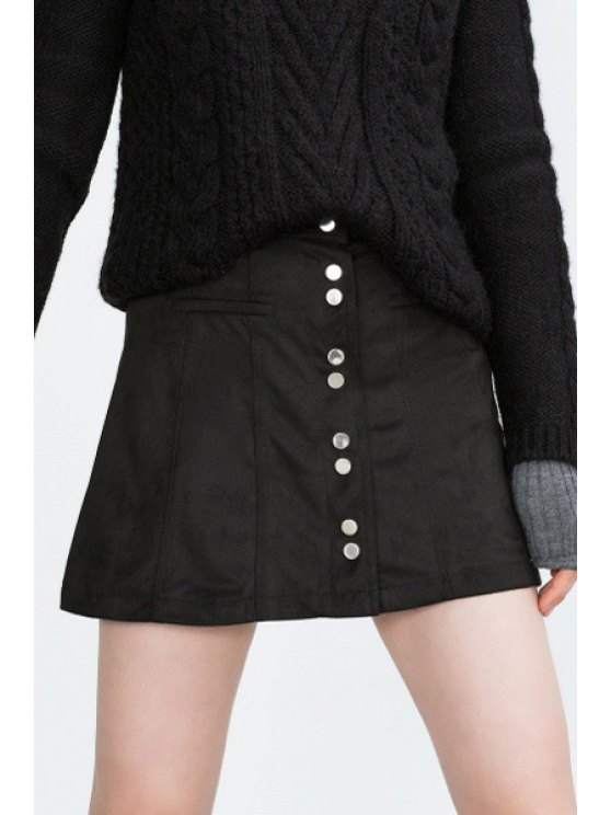 buy Black A-Line Suede Skirt - BLACK S
