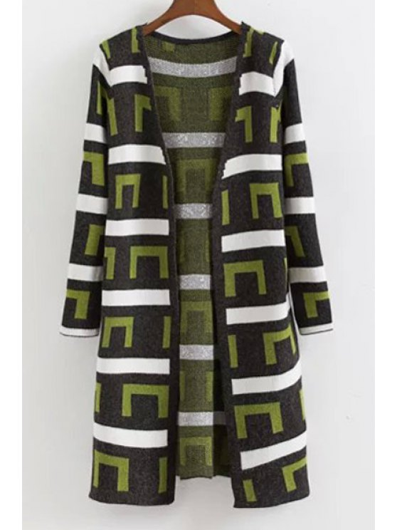 lady Geometric Pattern Long Sleeve V Neck Cardigan - GREEN ONE SIZE(FIT SIZE XS TO M)