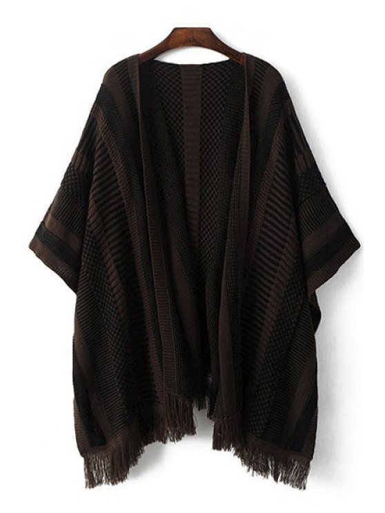 fashion Striped Fringes Batwing Sleeves Cape Cardigan - BROWN S
