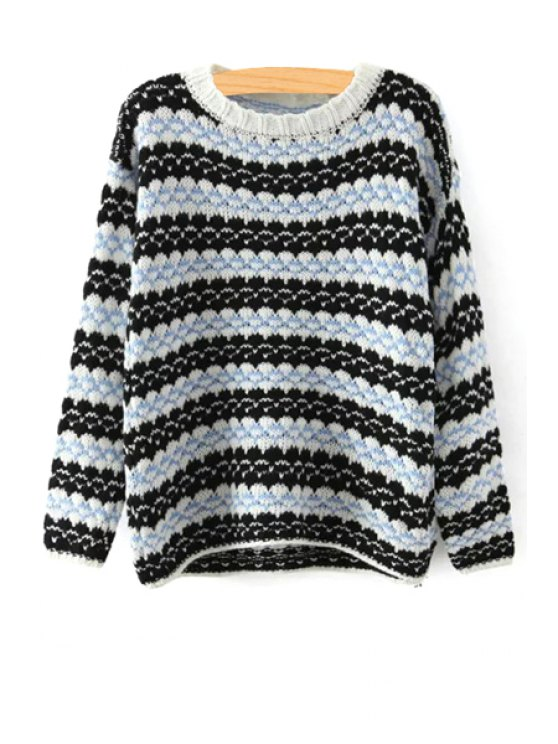 outfits Stripes Round Neck Long Sleeve Jumper - BLUE AND BLACK ONE SIZE(FIT SIZE XS TO M)