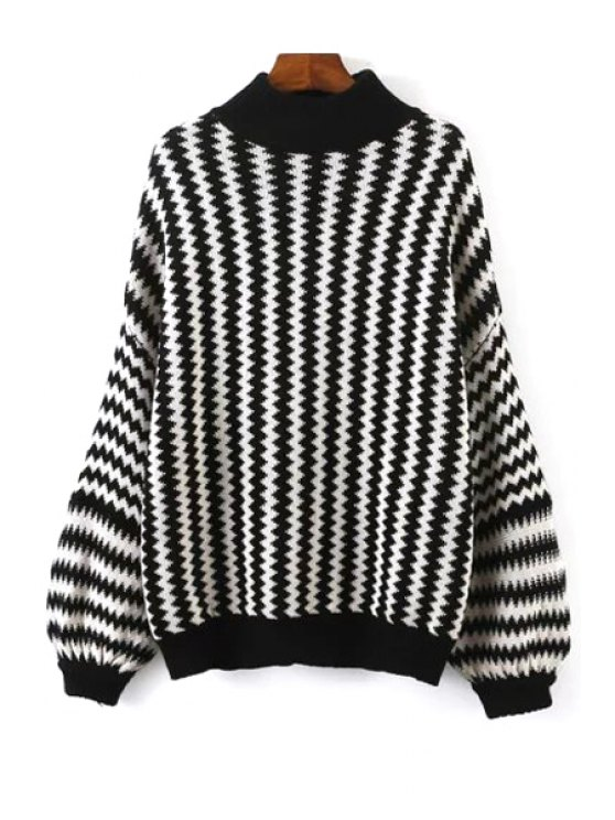 sale Zig Zag Pattern Long Sleeve Jumper - WHITE AND BLACK ONE SIZE(FIT SIZE XS TO M)