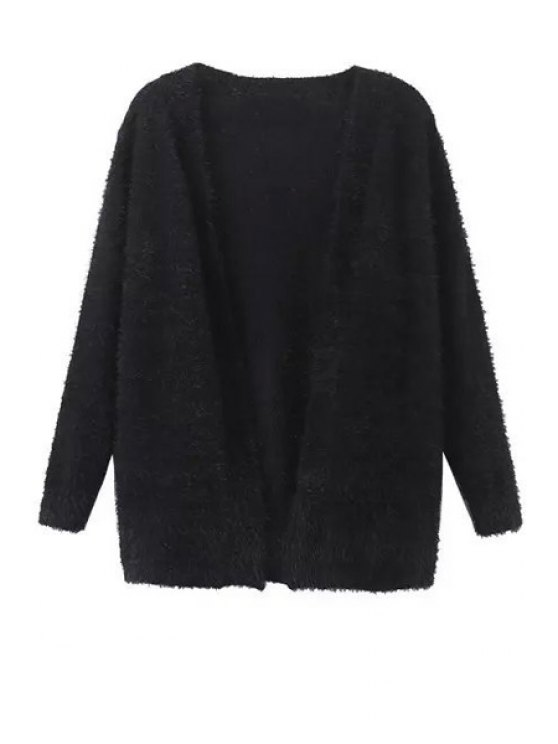 affordable Collarless Long Sleeve Black Cardigan - BLACK S