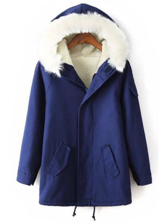 shop Faux Fur Hooded Neck Cashmere Thicken Coat - BLUE M