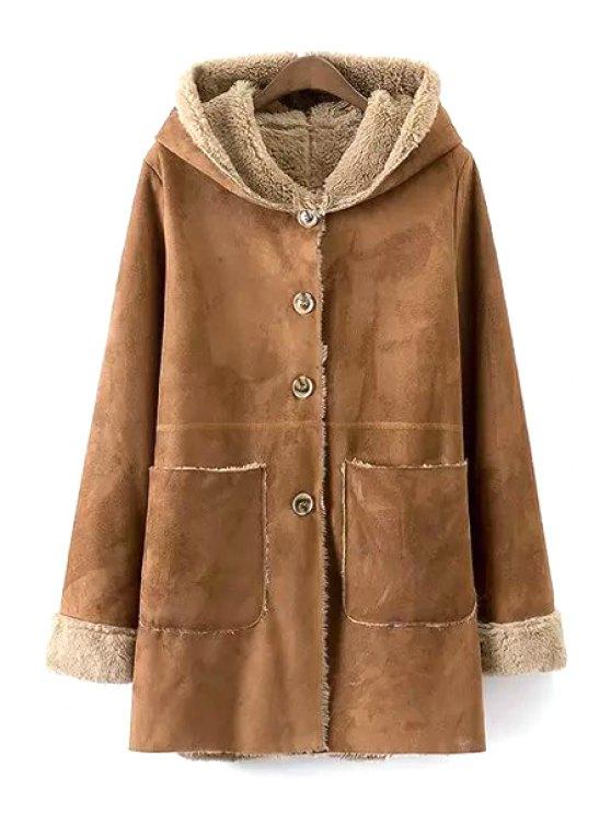 sale Khaki Faux Suede Hooded Long Sleeve Coat - KHAKI S