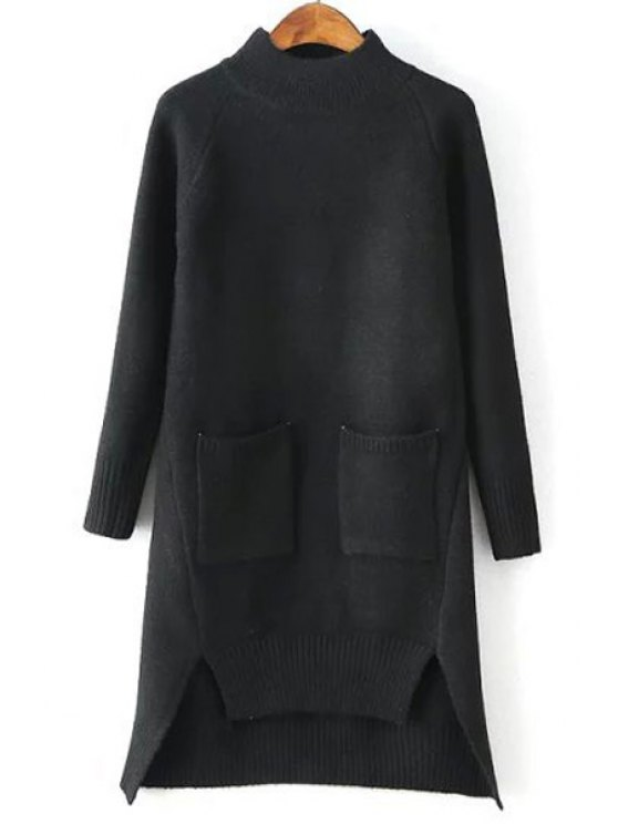 trendy Solid Color Pockets Irregular Hem Sweater Dress - BLACK ONE SIZE(FIT SIZE XS TO M)