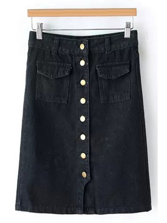 women Single-Breasted Denim Midi Skirt - BLACK S