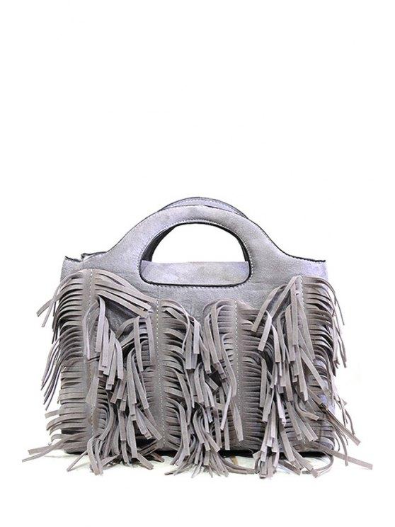 sale Tassel Pure Color Suede Tote Bag - GRAY