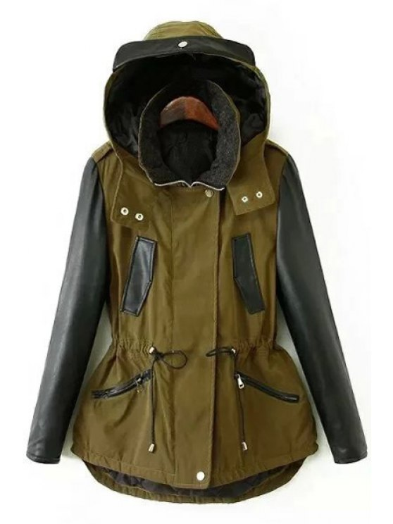 buy Faux Leather Sleeve Thick Jacket - GREEN S