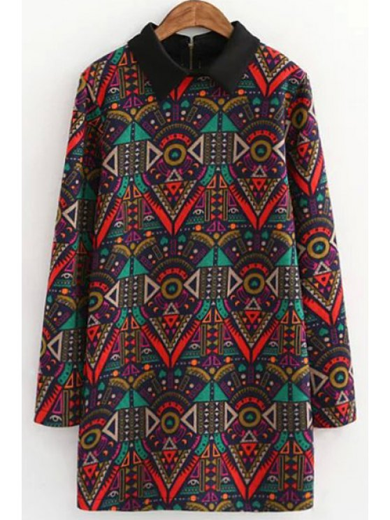 unique Retro Print Thicken Flat Collar Long Sleeves Dress - COLORMIX S