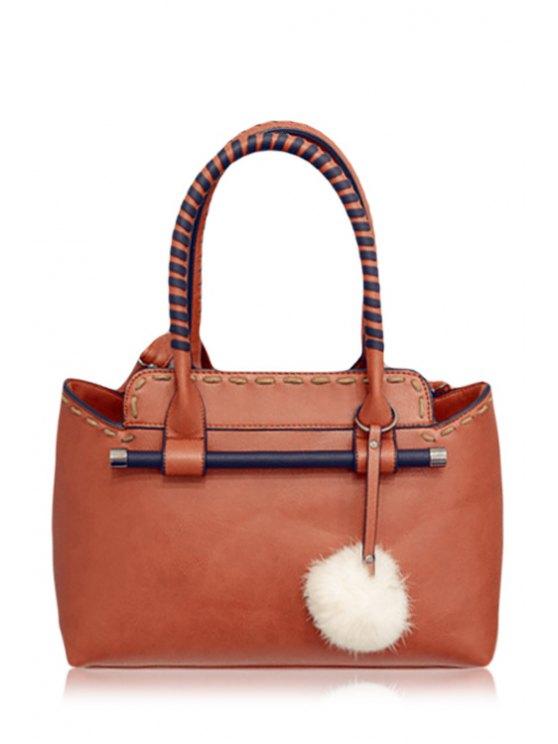 outfit Color Block Zipper Pendant Tote Bag - BROWN