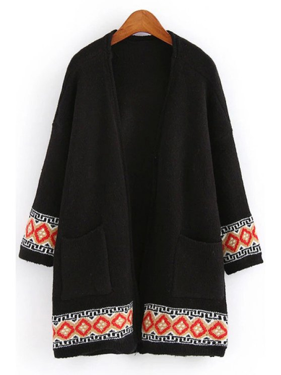 shops Two Pockets Jacquard Cardigan - BLACK ONE SIZE(FIT SIZE XS TO M)