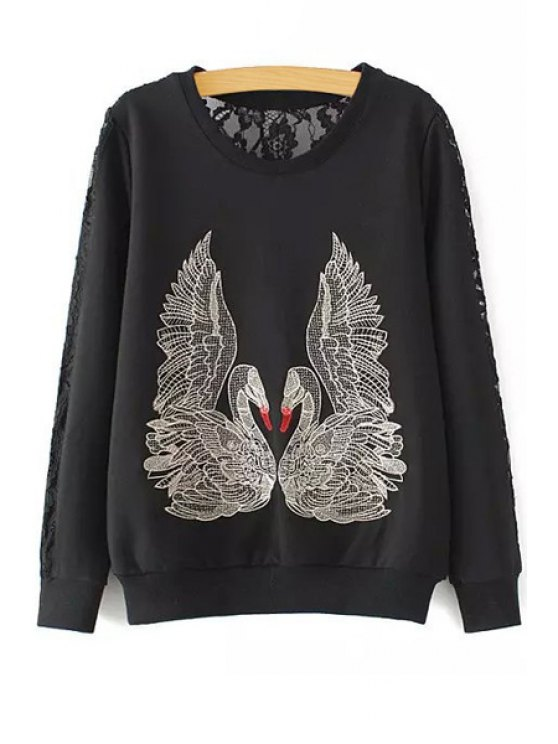 outfit Openwork Lace Spliced Animal Embroidery Sweatshirt - BLACK S