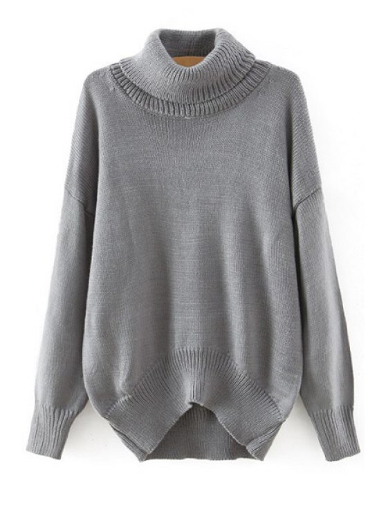 hot Loose-Fitting Solid Color Batwing Sleeves Turtle Neck Sweater - GRAY ONE SIZE(FIT SIZE XS TO M)