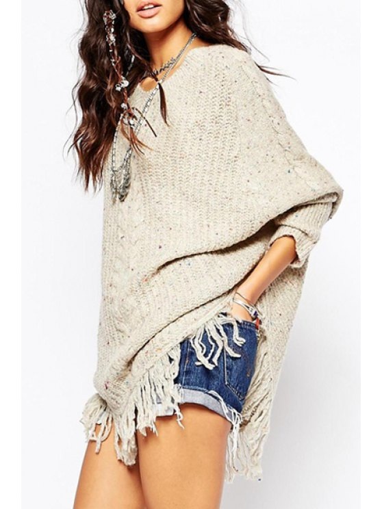 outfits Tassels V Neck Long Sleeve Pullover Sweater - OFF-WHITE ONE SIZE(FIT SIZE XS TO M)